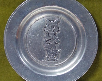 Vintage Signed Pewter Plate -Tom Cat Advertisment THOMCAT Unusual Whimsical Kitsch Plate