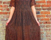 90s Vintage Lace Maxi Dress FREE SHIPPING