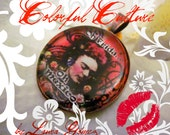"Frida Kahlo Pendant & FREE Brass Chain- 1 Inch -Original Printing form Laura Gómez Painting "" Oh Frida-Oh Mexico"" ( Private Collection)"