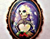 Dia de los Muertos / Sugar Skull  Cameo Pendant & FREE Wire Necklace- Print of Original  Art by Karina Gómez