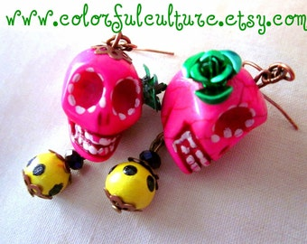 Dia de los Muertos - Day of the Dead  / Pink Mexican Sugar Skull  Earrings with metal roses