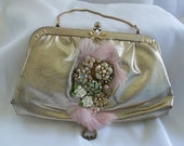 Gold Formal Clutch, Pink n Metalic Gold Bridal Purse with Victorian Flair and Flowers, One of a Kind Handbag
