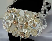 Pearl Bridal Bib Necklace, mother of pearl n crystals on silk ribbon, Collar Topper, Collier Neck Piece Blush.