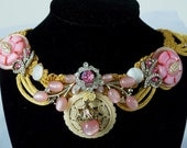 Vintage ivory n rhinestone necklace, coral, pearl, necklace on gold corded ribbon with pink gems, LAYAWAY Plans available