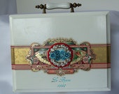 Wooden Box purse, royal white n gold large clutch, luxury couture accessory, Victorian blue roses Handbag.