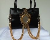 Black Purse, Haute Couture, Mirror Evening Bag, leather handbag, Red Carpet Series, Victorian Noir upcycle, OOAK, RESERVED