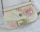 Beaded Wedding purse, couture pastel clutch, beaded,  OOAK, Timeless series by La Marelle Couture.LAYAWAY PLANS