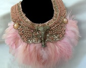 Pink feather necklace, Blush Plush Bib, Bridal Beaded Collar necklace, Steampunk Victorian Noir Neck Piece, OOAK vintage couture