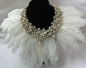 Statement Collier Necklace, White Beaded Bridal Neck Piece, Made to Order, Wedding Accessory, Angel, Haute Collar