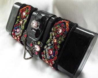 Formal clutch, beaded vintage black box purse, OOAK glamor prom accessory, Bridal fabulous, La Marelle Couture