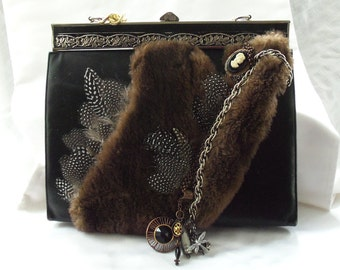 Feather purse Steampunk Handbag, Fur Victorian luxury handbag, antique beaver fur n vintage jewelry, proceeds for charity, OOAK