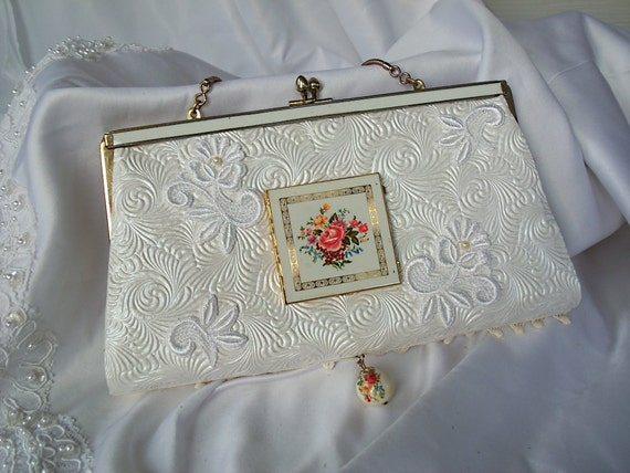 White wedding purse, vintage noir compact mirror on front, embossed, OOAK, prom perfect, double sided beauty LAYAWAY PLANS