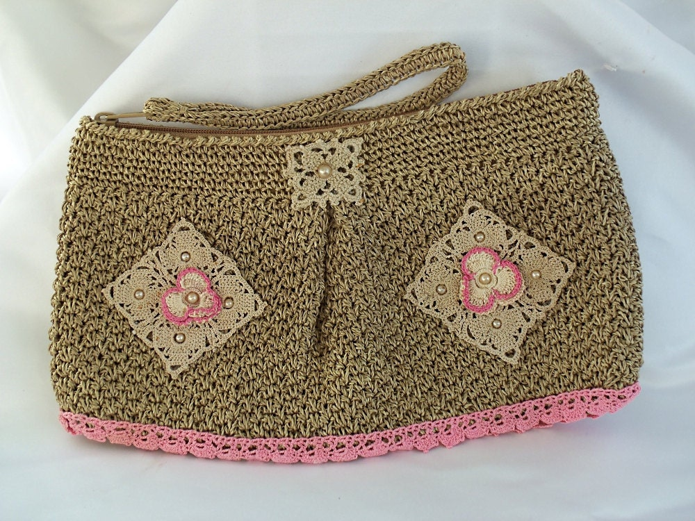 Pink clutch bag Spring fling crochet purse by HopscotchCouture