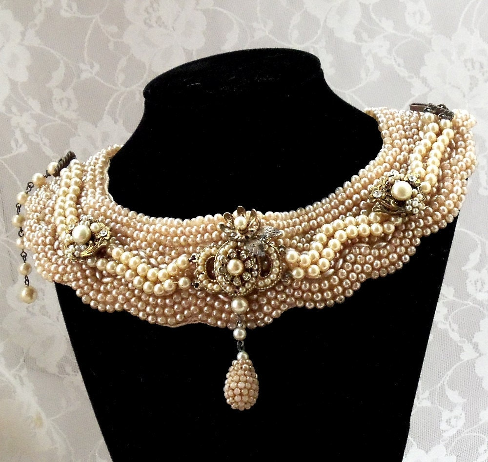 Vintage Pearl Choker Necklace: Beaded Bib Bridal Necklace Vintage Faux Pearl By