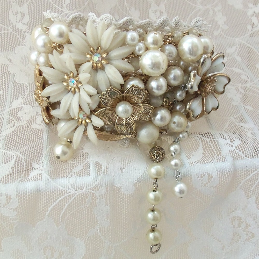 Bracelet Bridal Wrist Band Flowers N Beads By Hopscotchcouture