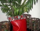 Faux Red Leather with Red, Olive & Black Tribal Rim Large Clutch