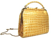 Vintage leather purse- Croc embossed patent leather shoulder bag in golden yellow - Clutch bag