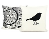 16x16 decorative throw pillows, set of two (2) - Bird pillow covers - Off white pillow cover with black bird print and peacock pillow case