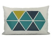 12x18 Outdoor Pillow Cover |  Geometric and Modern Garden Decor | Apple Green, Teal, Navy Blue Triangles & Grey Canvas | Lumbar Pillow Cover