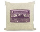 Cassette Mix Tape Decorative Pillow Cover for Couch, 16x16 inches | Purple Print and Natural Beige Cushion Cover | Vintage Industrial Decor