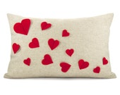 Growing hearts pillow cover - Red felt hearts applique on natural beige canvas accent pillow cover - 12x18 lumbar pillow cover, 30x45 cm