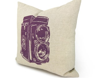 Vintage Photography Camera Pillow Cover | Radiant Orchid Purple and Natural Beige | 40x40 cm / 16x16 inches Size | Modern Decorative Pillow