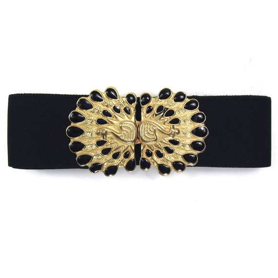 Vintage Black and Gold Peacock Buckle Duo on Elastic Belt - Adjustable to XS, S, M, L, XL