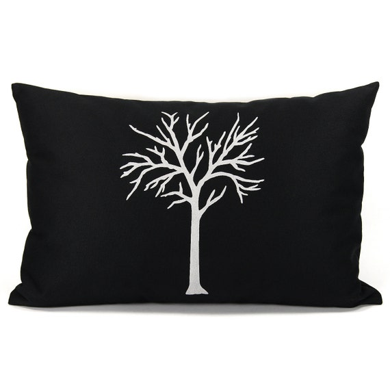 Modern pillow cover, 12x18 lumbar pillow cover, Minimalist home decor - Black decorative pillow cover with white tree print