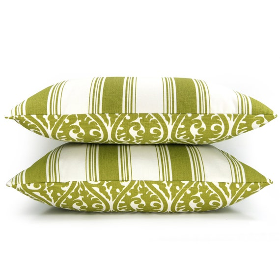 SALE  -  Green and white decorative pillow cover - Green damask print and stripe print pattern on each side - 16x16 throw pillow cover