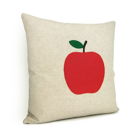 Apple pillow cover in natural beige, red and green, Felt applique, Red apple pillow case, Fall decor, Indoor garden,16x16 decorative pillow