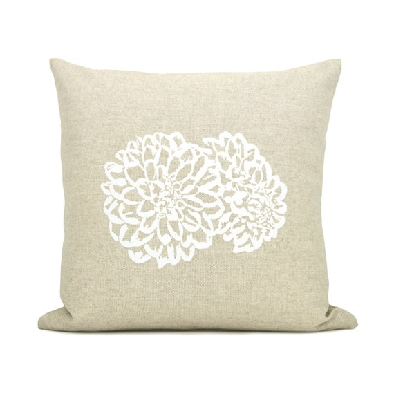 16x16 Decorative Throw Pillow Cover with Flower Print, Romantic Cottage Decor | Natural Beige and White Floral Pillow Case by Design Rocail