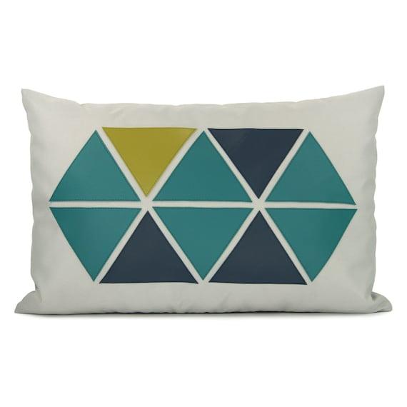 12x18 Outdoor Pillow Cover |  Geometric and Modern Garden Decor | Apple Green, Teal, Navy Blue Triangles & Grey Canvas | Lumbar Pillow Cover