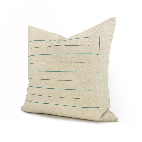 16x16 Geometric Pillow Cover   Emerald Green and Black, Natural Beige or Taupe   Graphic Minimalist Home Decor   Decorative Pillow for Couch
