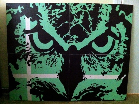 Abstract Owl Painting hand painted by ryanpoffenberger on Etsy