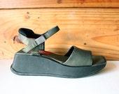 1990's Modernist Olive Green Block Platform Sandals