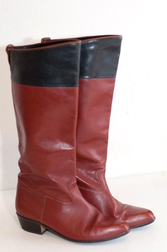 vintage size 9 leather knee high boots