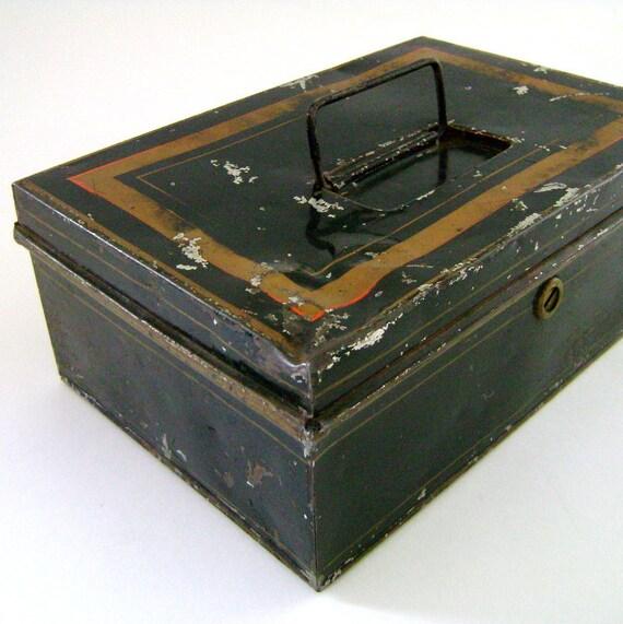 Vintage Tin Money Box/ Metal Cash Box