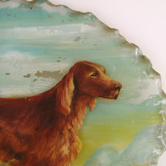 Vintage Dog Painting / Reverse Painting