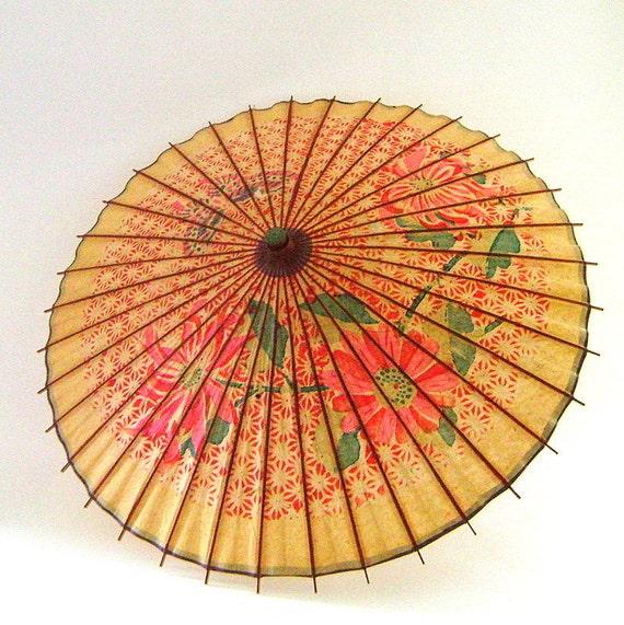 Vintage 1950s Japanese Paper Parasol Flowers