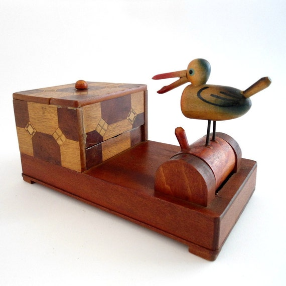 Vintage Wood Cigarette Dispenser Box with Bird