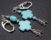 Turquoise & Spider Spring Loaded Key Clips SET OF TWO Hand Crafted