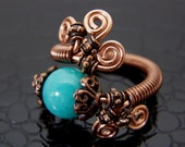 Turquoise & Copper Wire Wrapped Stone Ring Hand Crafted
