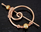 Hammered Copper Gold Pearl Shawl Pin Hand Crafted