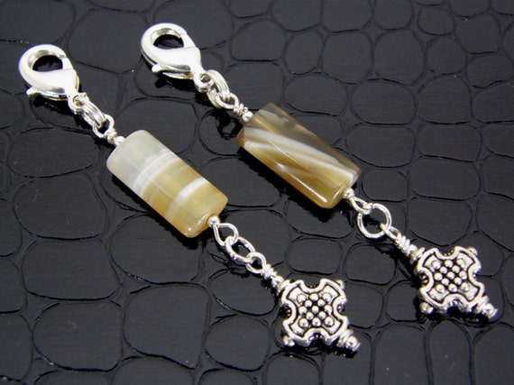 Zipper Pulls Stone and Cross  Set of Two Charms Handmade