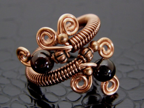 Garnet & Copper Wire Wrapped Ring Two Garnet Stone Beads Hand Crafted