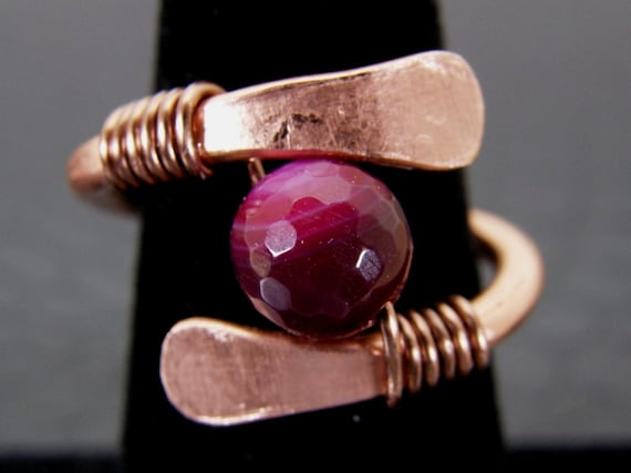 Hammered Copper Ring with Agate Stone Hand Crafted
