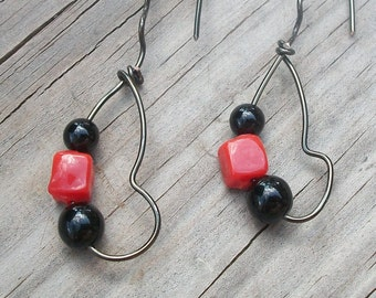 Black and Orange Wire Wrapped Dangles