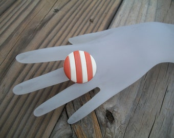 Coral Striped RETRO Upcycled Ring