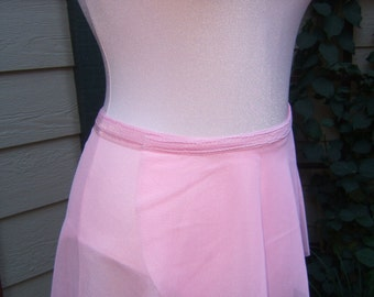 All Stretch Short Wrap Skirt for Dancers in Ballet Pink Mesh Fabric