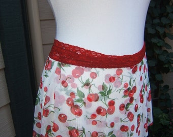 All Stretch Short Wrap Skirt for Dancers in A Cherry Print